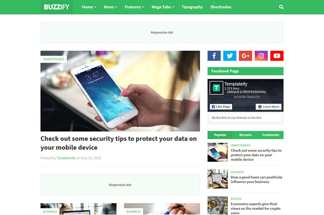 Buzzify is a professional person blogger template Free Download Buzzify - Responsive Blogger Template