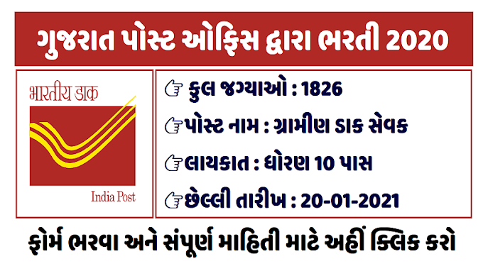 Indian Postal Department, Gujarat Circle Recruitment for 1826 Gramin Dak Sevak (GDS) Posts 2021