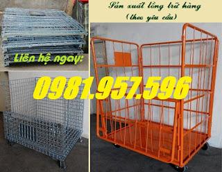 Pallet lưới trữ hàng, lồng trữ hàng có bánh xe, lưới trữ hàng