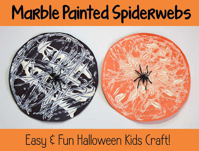 Marble Painted SpiderWebs | really fun and simple Halloween Kid Craft! | #halloween #spider #kidcraft