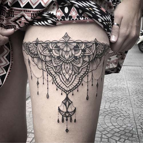 üst bacak mandala dövmesi bayan thigh mandala tattoo for females