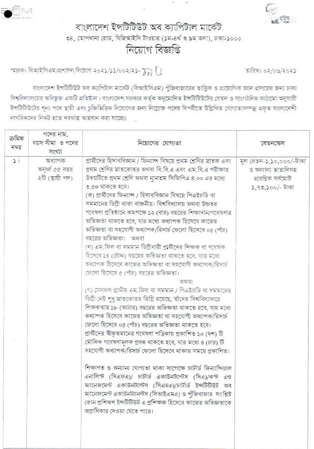 Bangladesh Institute of Capital Market (BICM) Job Circular