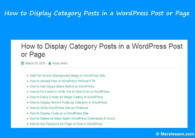 How to Display Category Posts in a WordPress Post or Page
