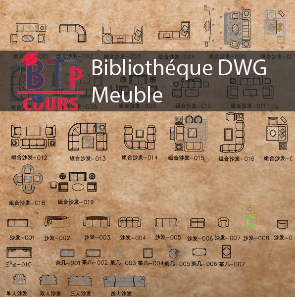 Elevation Et Vue En Plan : Bibliothèque dwg meuble vue en plan et élévation btp