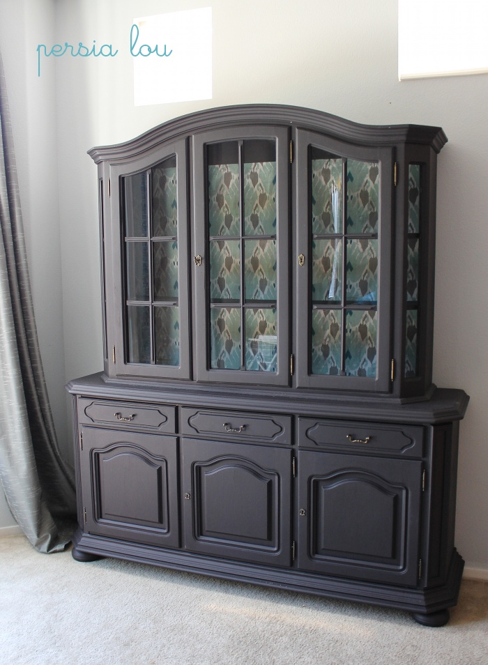 decor redo, painted hutch with fabric inside on back display area