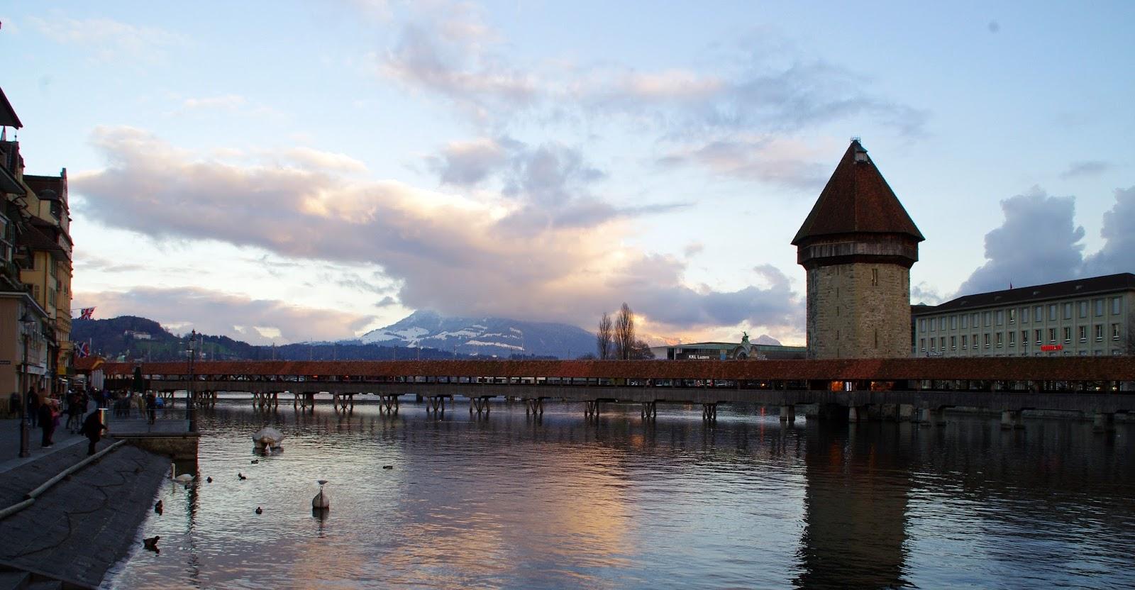 Lucerne Switzerland Chapel Bridge Sunset