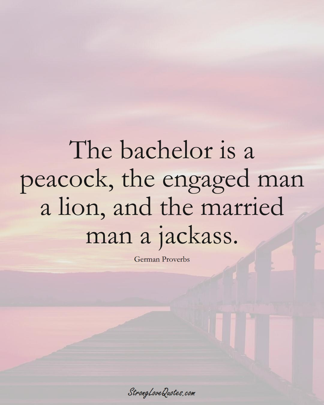 The bachelor is a peacock, the engaged man a lion, and the married man a jackass. (German Sayings);  #EuropeanSayings