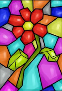 ilustrasi gambar dekoratif mozaik bunga
