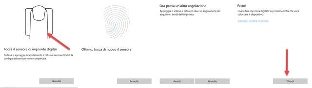 cambiare angolazione impronte digitali per la rilevazione