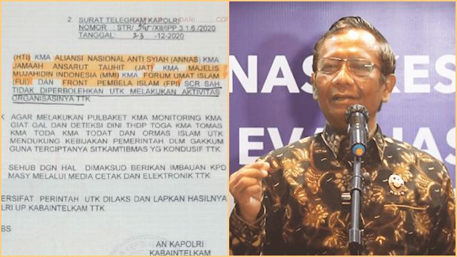 Mahfud Pastikan Telegram Kapolri Soal Pembubaran FPI Hoax
