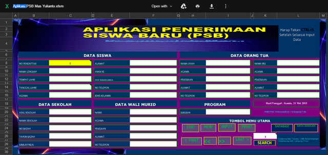 Download Gratis Aplikasi PPDB Format Excel Bisa Edit Tanpa Password