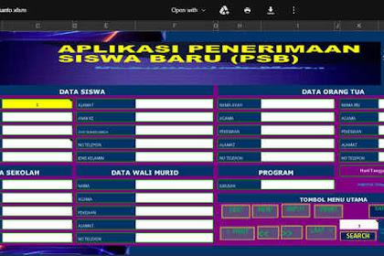 Aplikasi PPDB Format Excel Bisa Edit Tanpa Password