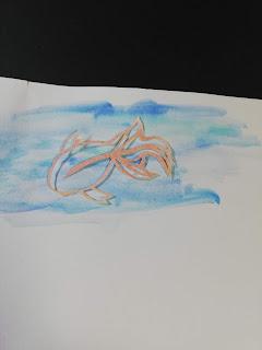 パステルで輪郭を彩色した切り絵(薄い背景)
