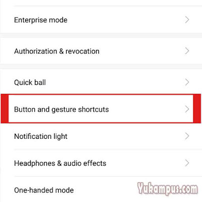 button and gesture schortcut