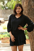Actress Hebah Patel Stills in Black Mini Dress at Angel Movie Teaser Launch  0046.JPG