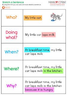 MamaLovePrint 自製工作紙 - 學習擴充英文句子工作紙 延伸句子練習 Stretch a Sentence English Worksheets Printable Freebies Activities Daily