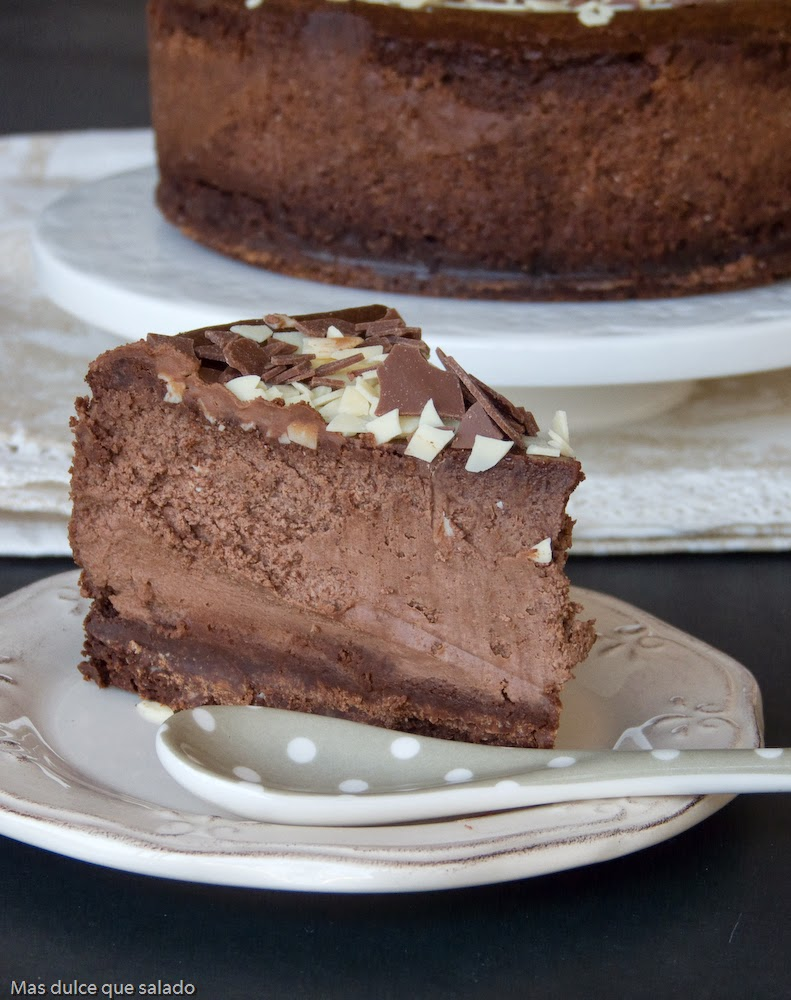 Tarta de queso y chocolate negro