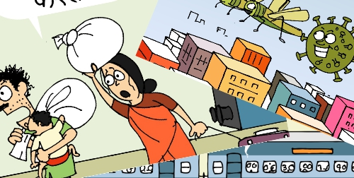 कोरोना, Corona Cartoon, lockdown, Covid 19, bbc cartoon, cartoonist kirtish bhatt, indian railways