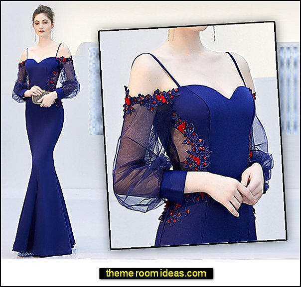 Mermaid Trumpet Off Shoulder Spaghetti Strap Sweep Brush Train Satin Formal Evening Dress with Beading