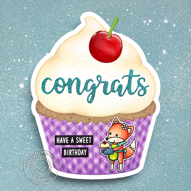 Sunny Studio Stamps: Cupcake Shape Die Slimline Dies Woodsy Autumn Birthday Card by Anja Bytyqi
