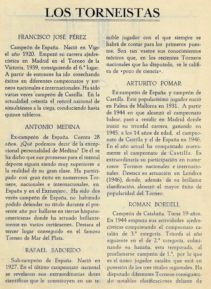 Página 6 del Boletín del I Torneo Nacional de Ajedrez de Tortosa 1948