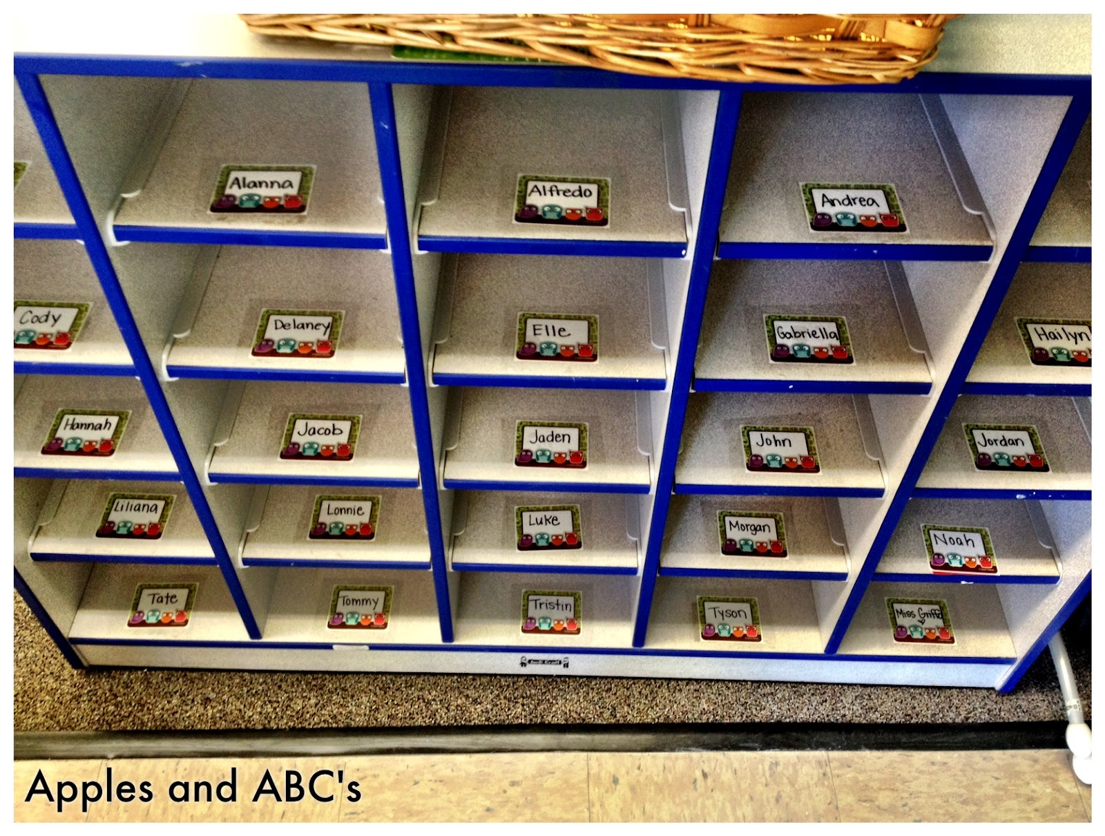image relating to Printable Name Tags for Cubbies called Labeling the Cubbies - Apples and ABCs