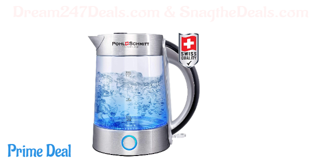Pohl Schmitt 1.7L Electric Kettle with Upgraded 100% Stainless Steel Filter, Inner Lid & Bottom, Glass Water Boiler & Tea Heater with LED, Cordless, Auto Shut-Off&Boil-Dry, BPA Free