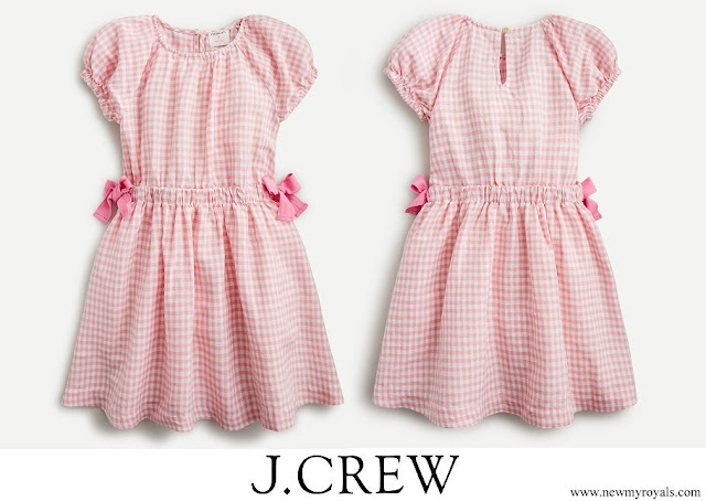 Princess Adrienne and Princess Leonore wore J.Crew Girls Linen Dress in Pink Gingham