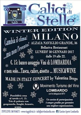 Calici di Stelle 'Winter Edition 30 gennaio Milano 2017