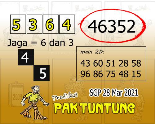 Syair SGP Minggu 28 Maret 2021 -