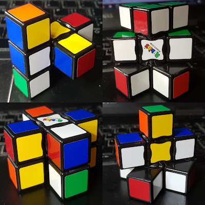 Collage showing 4 different shapes possible with Rubik's Edge - actually a really interesting toy for people with reduced vision