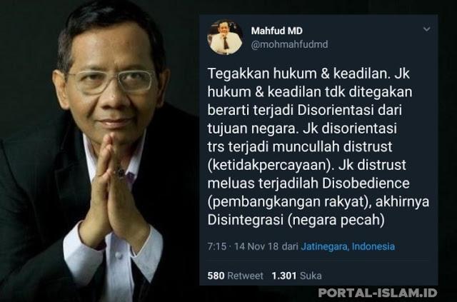 mahfud md soroti hukum keadilan jika tidak ditegakkan opini bangsa