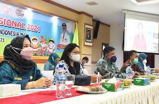 Bupati Deli Serdang Hadiri Puncak Peringatan Hari Anak Nasional Tahun 2021 Secara Virtual.