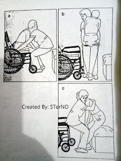 membangunkan pasien dari kursi roda (wheel chair) yang benar
