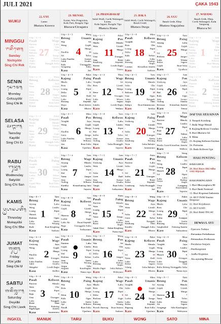 Kalender Bali Juli 2021 Lengkap PDF dan JPG