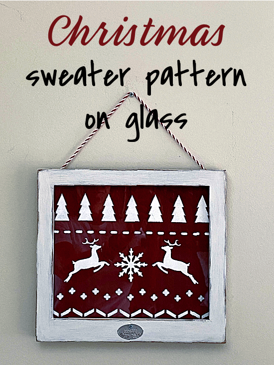 Stenciled sweater pattern on glass pinterest pin