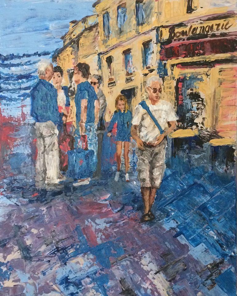 peinture de Karine Babel représentant des gens dans une rue de Périgueux, le lendemain de la Félibrée.