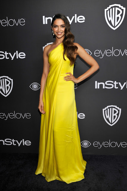 Deepika Padukone n Yellow dress at InStyle's after party - 2017 Golden Globes