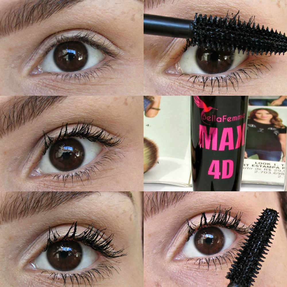 Máscara Max 4D muito mais volume, efeito cílios postiços, bella femme cosméticos.
