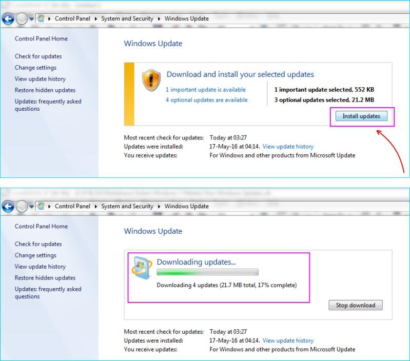 Update Windows 7 - Proses Download dan Install Update