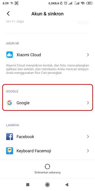 Klik Pada Bagian Google di Menu Akun & Sinrkon Xiaomi