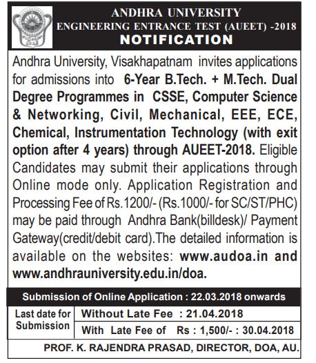 Andhra University EET 2018 Exam Notification