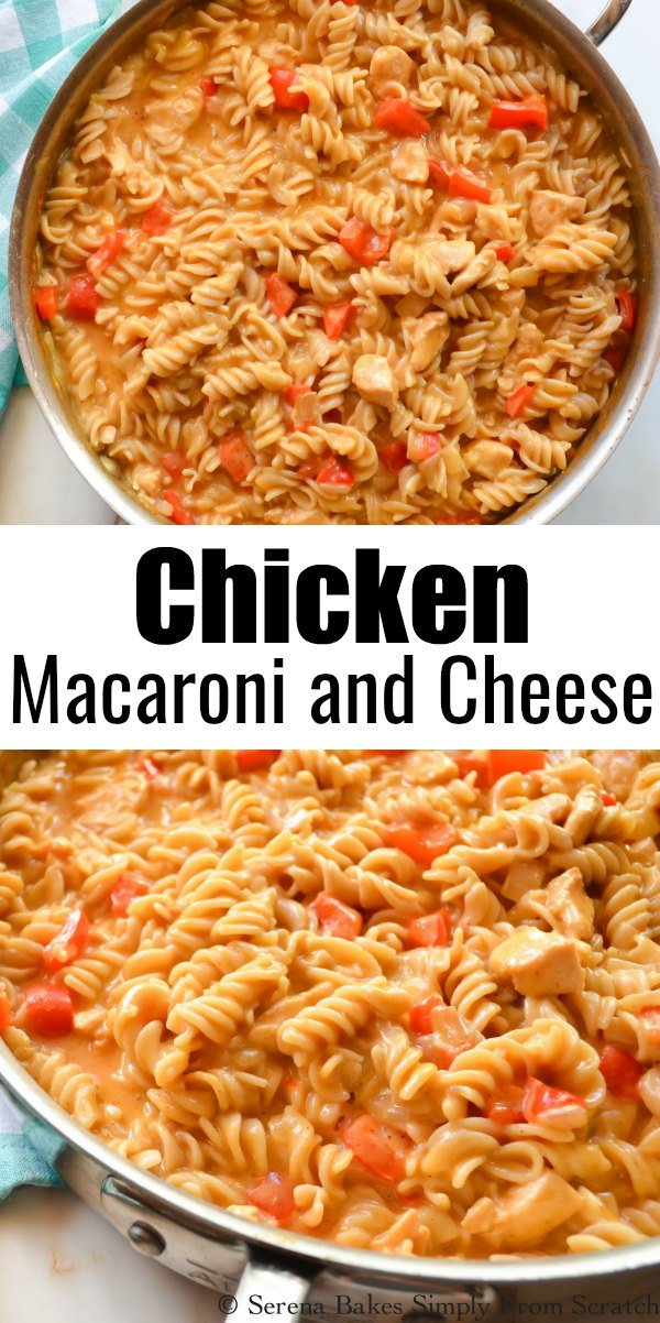 2 pictures of Chicken Macaroni and Cheese in a stainless steel pan the bottom one is a close up.