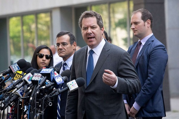 "Jeffrey Lichtman, attorney for Mexican drug lord Joaquin ""El Chapo"" Guzman, speaks to the media in front of Brooklyn federal court following his client's sentencing, July 17, 2019, in New York."