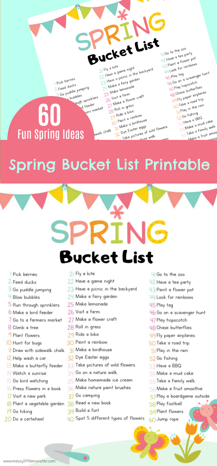 Printable spring bucket list for kids. 60 of the best spring activity ideas for kids to enjoy.