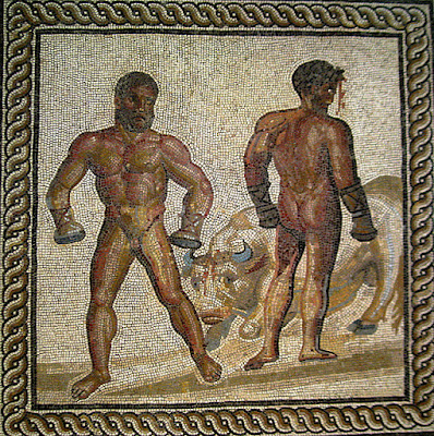 Boxing scene from the Aeneid, Sicilian champion Entellus defeats the young Trojan champion Dares. Blood spurts from Dares' injured head. Entellus sacrificed his prize, a bull, by landing a great blow to the animal's head. Both boxers wear cesti. Mosaic floor from a Gallo-Roman villa in Villelaure (France), ca. 175 AD.