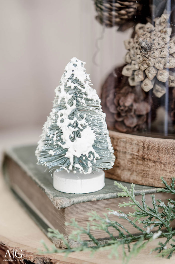 A bottle brush tree covered in snow makes a perfect decoration for winter.  |  www.andersonandgrant.com