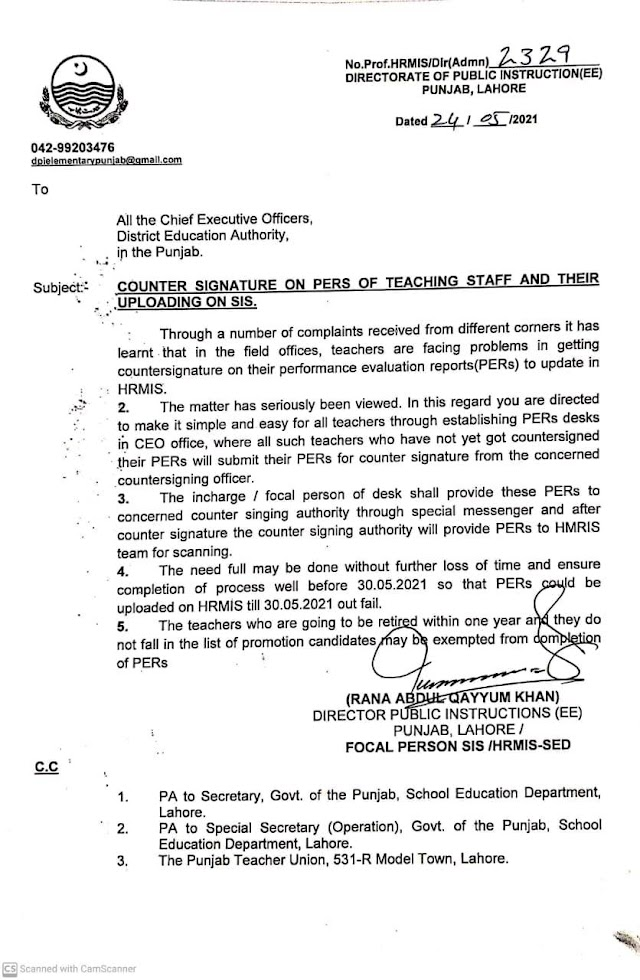COUNTER SIGNATURE ON PERs OF TEACHING STAFF AND THEIR UPLOADING ON SIS