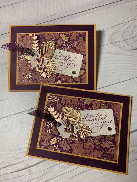 Handmade Fall-themed greeting cards using Stampin' Up! Prretty Pumpkins Stamp Set
