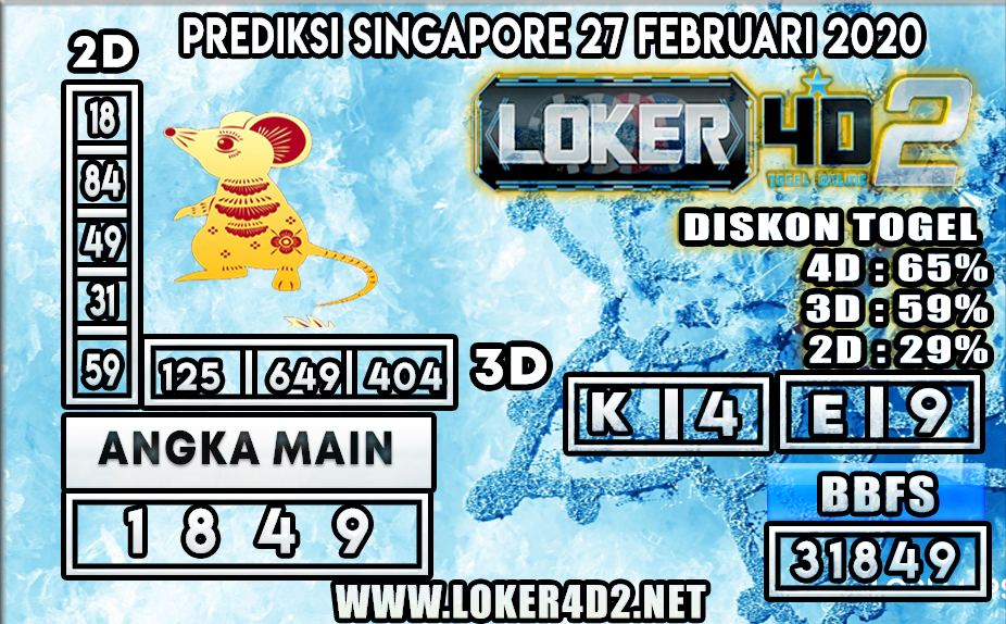 PREDIKSI TOGEL SINGAPORE LOKER4D2 27 FEBRUARI 2020